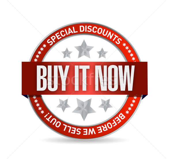 Stock photo: buy it now illustration design seal over a white background