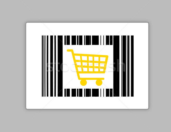 bar code with shopping cart illustration design over grey Stock photo © alexmillos
