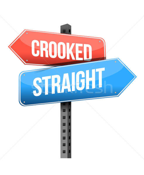 crooked, straight road sign illustration design over a white bac Stock photo © alexmillos