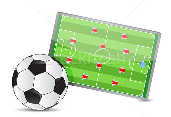 Soccer field tactic table, soccer balls illustration design over Stock photo © alexmillos