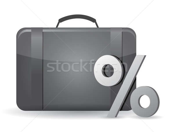 Black business case and percentage symbol on the white backgroun Stock photo © alexmillos