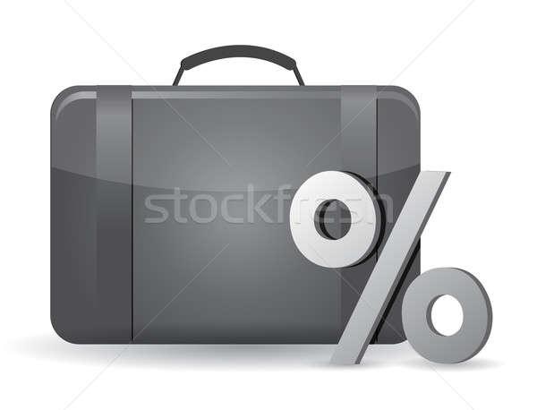 Siyah iş durum yüzde simge beyaz Stok fotoğraf © alexmillos