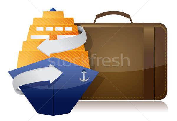 Bateau de croisière bagages illustration design blanche métal Photo stock © alexmillos