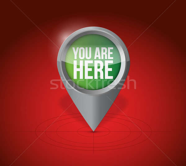 you are here pointer locator illustration design over a white ba Stock photo © alexmillos