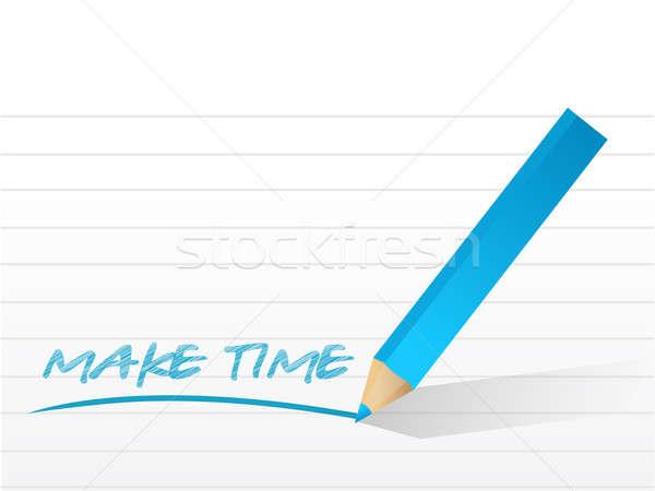 Gyártmány idő üzenet írott jegyzettömb papír Stock fotó © alexmillos