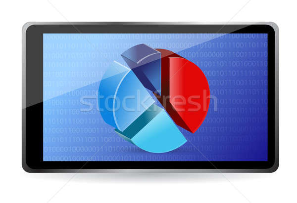 Számítógép tabletta mutat táblázat diagram illusztráció Stock fotó © alexmillos