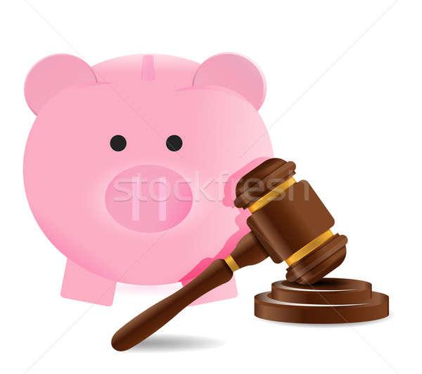 Foto stock: Lei · gabela · piggy · bank · ilustração · projeto · branco