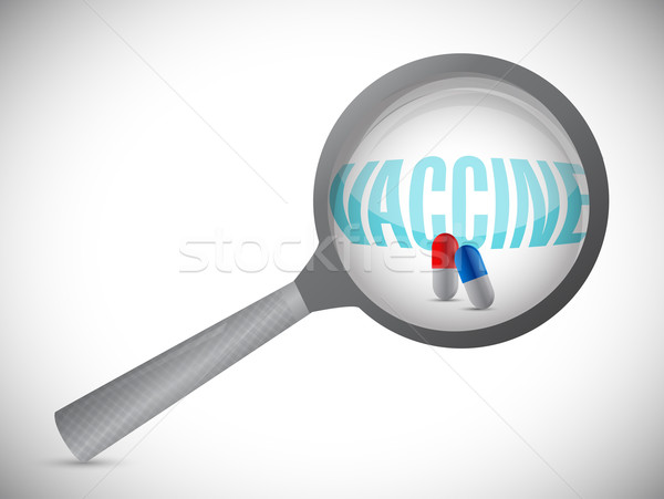Magnifying glass showing vaccine word Stock photo © alexmillos