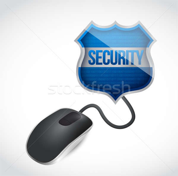 security shield sign connected to mouse illustration design over Stock photo © alexmillos