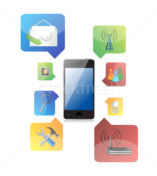 smart phone with icons illustration design on white background Stock photo © alexmillos