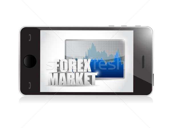 Telefoon forex zakelijke grafiek illustratie ontwerp witte Stockfoto © alexmillos