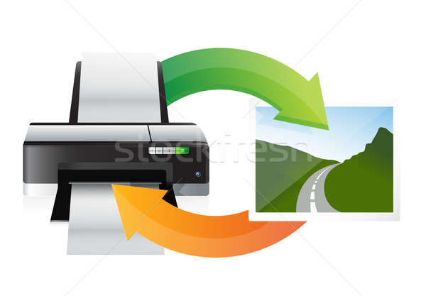 printer and print cycle illustration design over white Stock photo © alexmillos