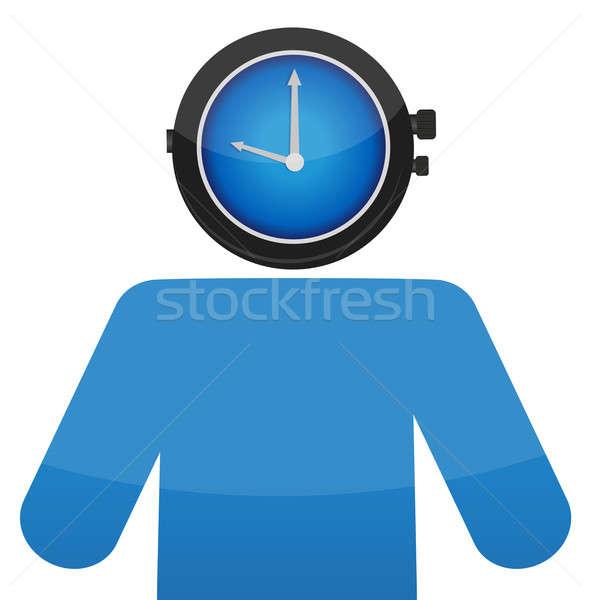 Homem ver cara ilustração projeto relógio Foto stock © alexmillos