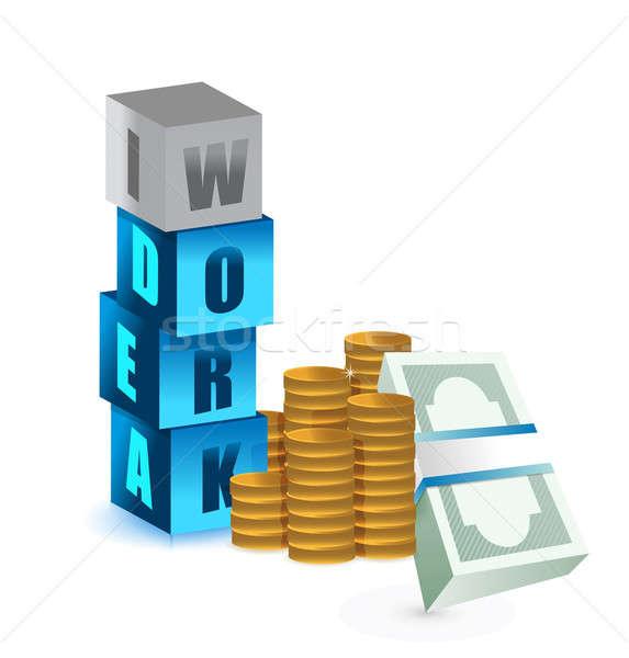 Pénzkeresés munka ötlet épület fém piac Stock fotó © alexmillos
