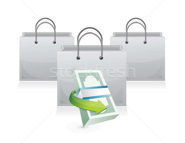 shopping bags and money stack illustration design over white Stock photo © alexmillos