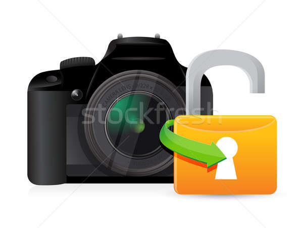 camera unlock illustration graphic design over a white backgroun Stock photo © alexmillos