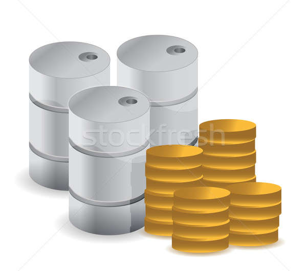 Gasoline fuel with coins over white background  Stock photo © alexmillos