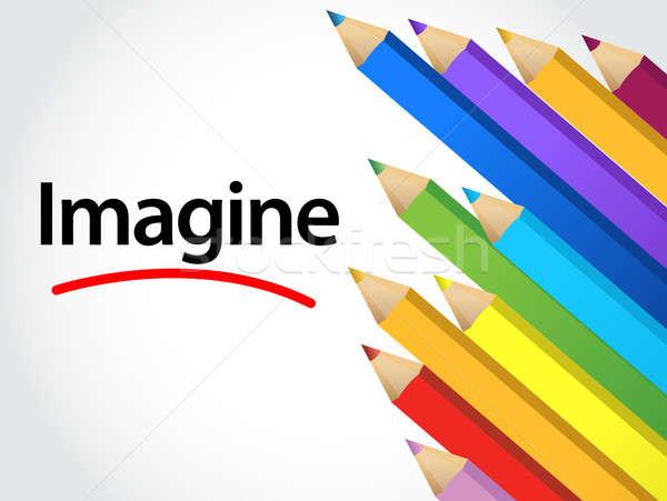 Imagine Multicolored pencils Stock photo © alexmillos