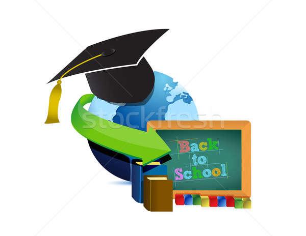 Stock fotó: érettségi · oktatás · víz · könyvek · térkép · világ