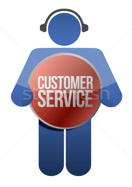 Customer support icon with headphones illustration design Stock photo © alexmillos