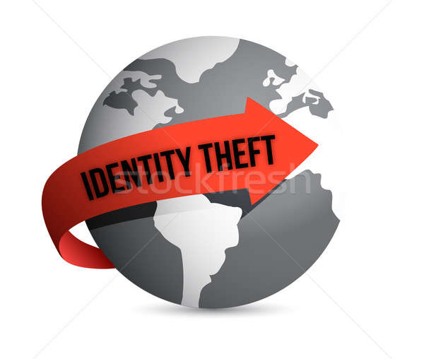 Identiteitsdiefstal wereldbol veiligheid web sleutel slot Stockfoto © alexmillos