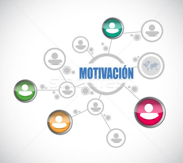 Motivación red diagrama signo espanol ilustración Foto stock © alexmillos