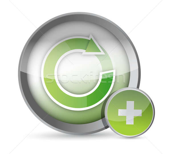 Zdjęcia stock: Cyklu · ilustracja · przycisk · projektu · biały · Internetu