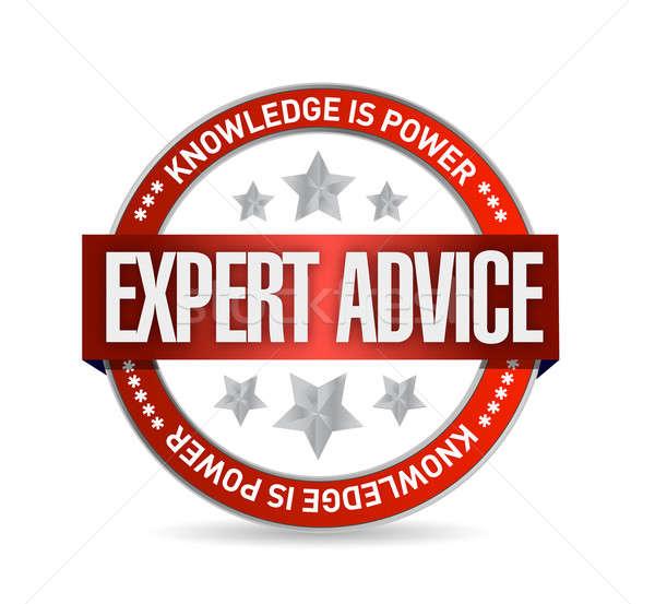 Expert conseil sceau illustration design blanche Photo stock © alexmillos