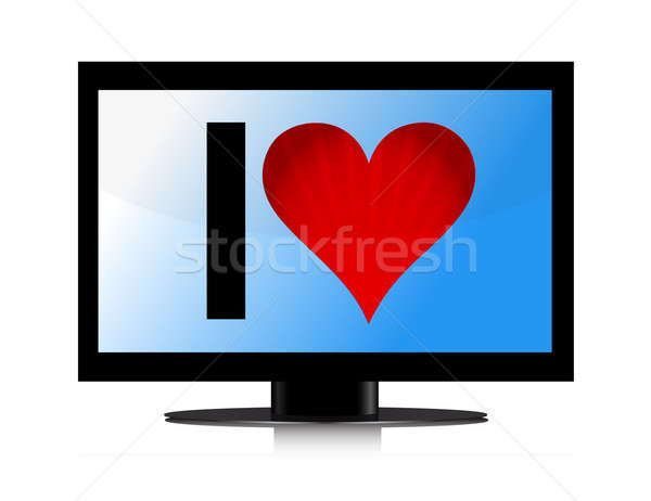 TV set with Heart illustration design over white Stock photo © alexmillos