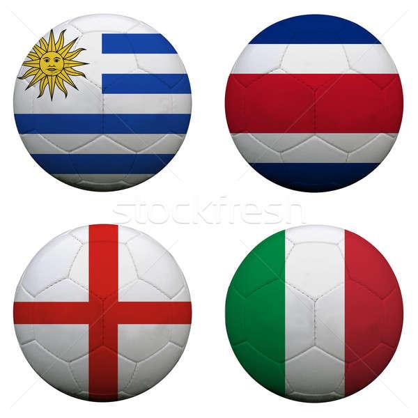 Stock fotó: Futball · golyók · csoport · csapatok · zászlók · futball