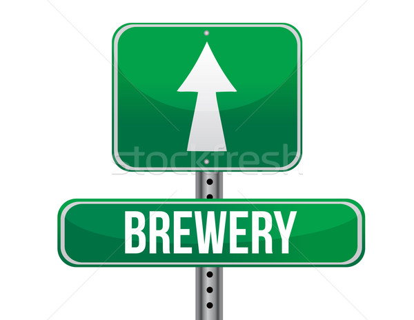 brewery road sign illustration design over a white background Stock photo © alexmillos