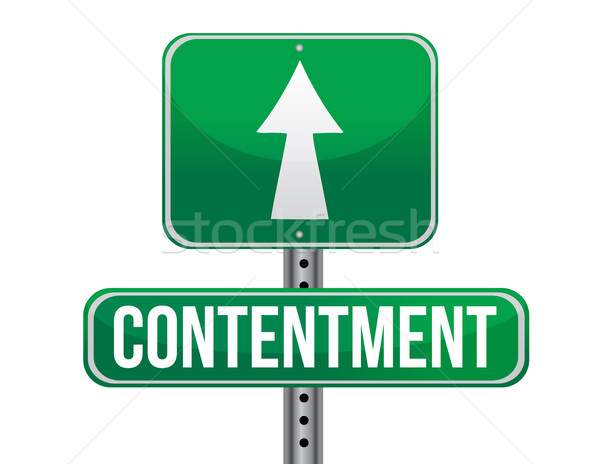 contentment road sign illustration design over a white backgroun Stock photo © alexmillos