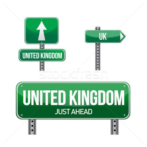 united kingdom Country road sign illustration design over white Stock photo © alexmillos
