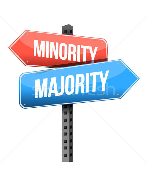 minority, majority road sign illustration design over a white ba Stock photo © alexmillos