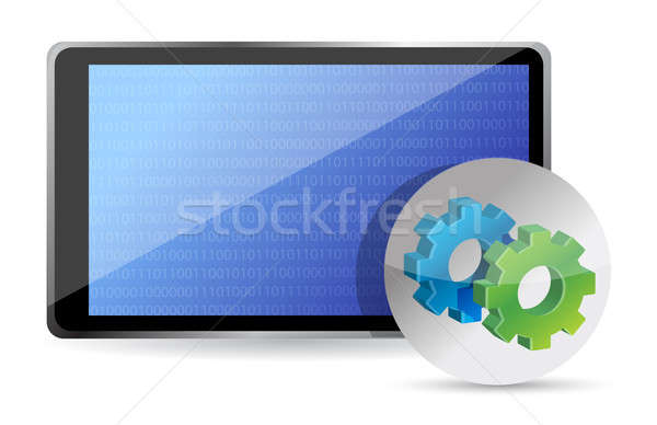 one tablet pc with gears, processing concept illustration design Stock photo © alexmillos