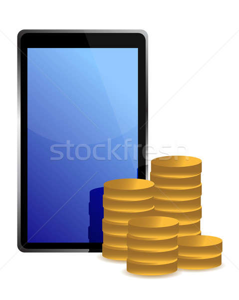 tablet and coins around illustration design over white Stock photo © alexmillos