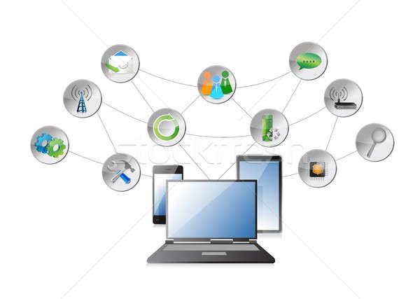 электроника приложения диаграмма бизнеса дома интернет Сток-фото © alexmillos