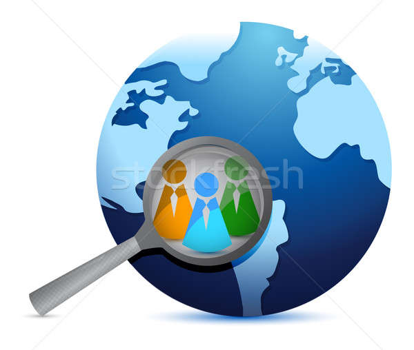 earth globe and magnify glass focusing in teamwork illustration Stock photo © alexmillos