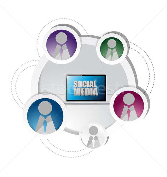 technology social media network friends diagram cycle. illustrat Stock photo © alexmillos