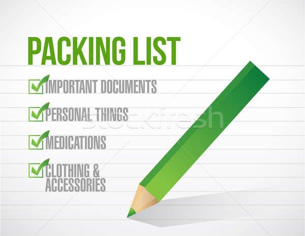package list check mark list illustration design over a white ba Stock photo © alexmillos