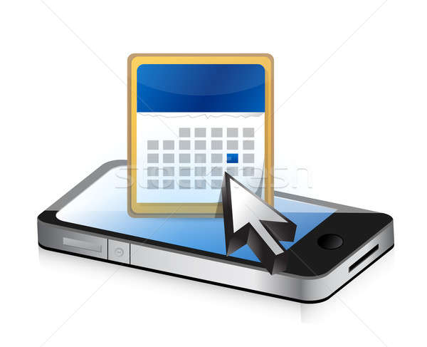 phone and calendar illustration design over a white background Stock photo © alexmillos