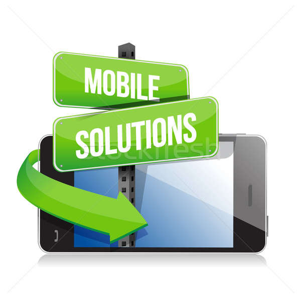 mobile smart phone. Mobile solutions sign illustration design ov Stock photo © alexmillos