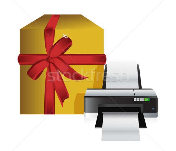 Nyomtató ajándék doboz illusztráció terv fehér technológia Stock fotó © alexmillos