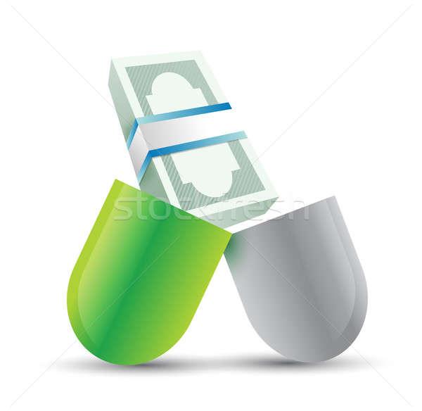 медицинской расходы иллюстрация дизайна белый зеленый Сток-фото © alexmillos
