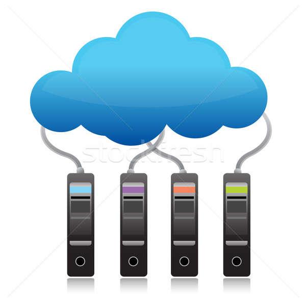 Szerver biztonsági mentés felhő alapú technológia doboz hálózat kék Stock fotó © alexmillos