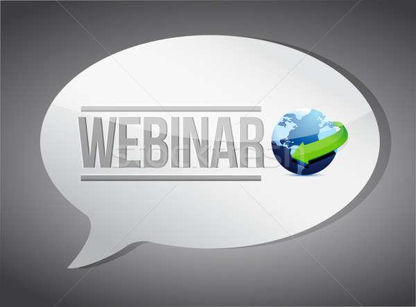 Eğitim semineri mesaj teknoloji mavi kırmızı Stok fotoğraf © alexmillos