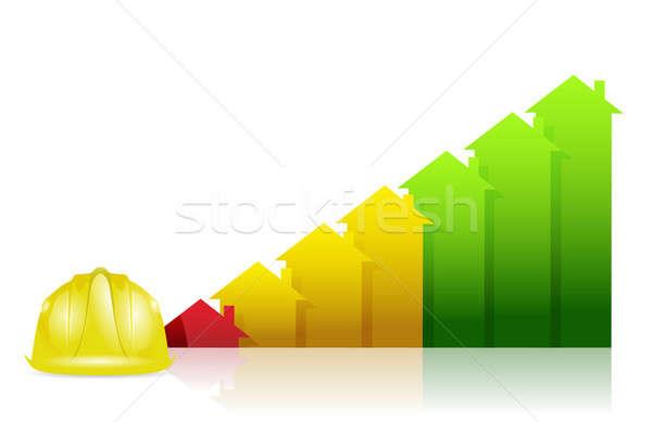 Foto stock: Construção · imóveis · gráfico · de · negócio · traçar · trabalhar · verde