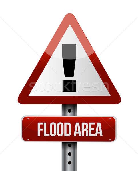 наводнения дорожный знак иллюстрация дизайна белый воды Сток-фото © alexmillos