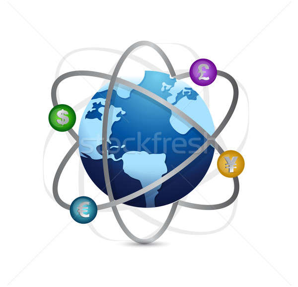 Globe and currency illustration design Stock photo © alexmillos
