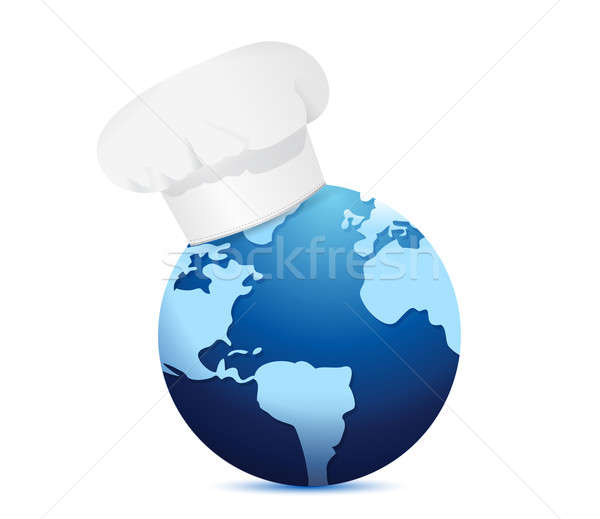 chef hat and globe. International cuisine concept illustration d Stock photo © alexmillos